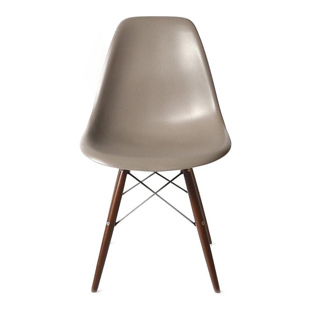 DSW ウォールナット色脚部 【モカグレー】 サイドシェルチェア/Shell Side Chair イームズ PP(強化ポリプロピレン) B00Q666VDC