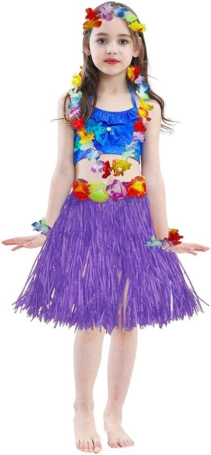 Ladies Women Hawaii Fancy Dress Grass Skirt Hula Hawaiian Full Charming ftRDBK