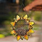 """Evergreen Garden Sunflower Metal and Glass Hanging Mesh Bird Feeder - 12.5""""W x 3""""D x 17""""H"""