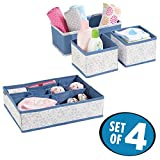 mDesign Baby Nursery Fabric Storage Set for Drawer, Closet, Dresser Top, Changing Table - Set of 4, Blue/Gray
