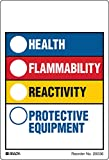 Brady 20036LS Hazardous Communication and Right-to-know Labels, Coated, Paper, 3.875'' x 4'', Black/Blue/Red/Yellow On White (Pack of 100)