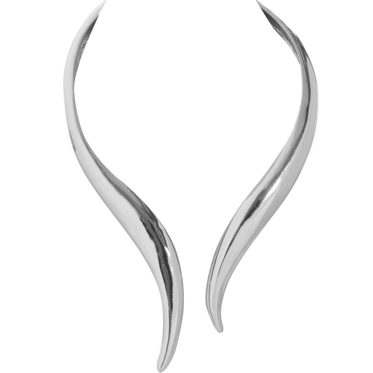 Humble Chic Hinge Bib Necklace - Oversized Asymmetrical Statement Collar Open Choker, Silver-Tone, Metallic White