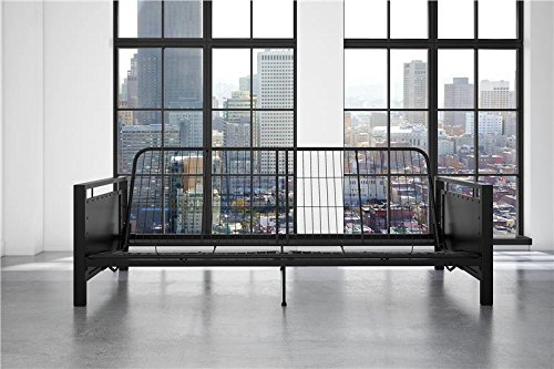 Living Room Queen Size Futon Frame (DHP Henley Metal Arm Futon Frame, Industrial Loft Design, Converts to Sleeper, Black Sturdy Metal)