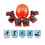 Kids Protective Gear, Kid's Skateboard Helmet Set, Knee Pads Elbow Pads Wrist Guards and Adjustable Helmet Use for Scooter Cycling Roller Skating, 7 pcs / Set, Red