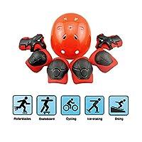 Casco da skateboard Kid set, pattinaggio BMX scooter bicicletta skateboard casco, ginocchiere e gomitiere di sicurezza Pad salvaguardia Gear (gomitiere + ginocchiere + protezione polso + casco)