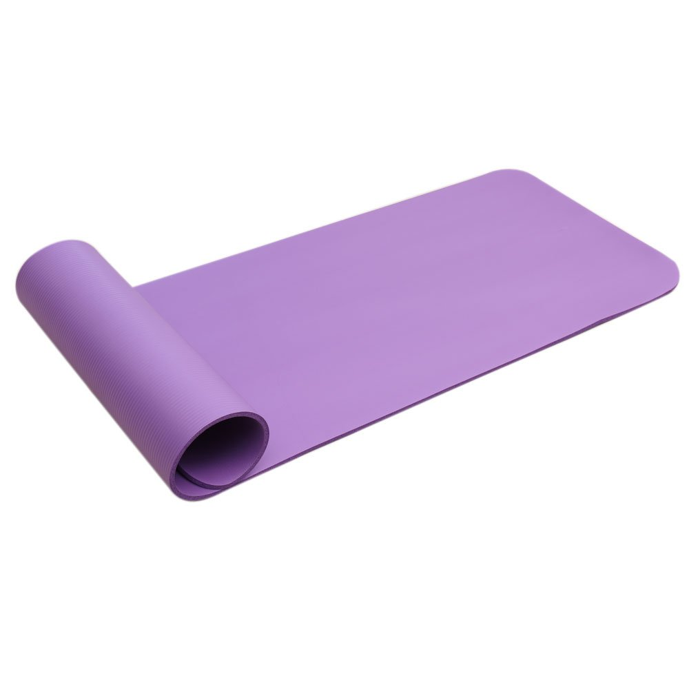 Basil Julias Outdoor Supplies Tasteless Mat for All Types of Yoga, Free Carry Strap,15mm Thickened NBR Pure Color Anti-Skid Exercise Fitness Yoga Mat for Beginner Female or Male (Purple) by Basil Julias