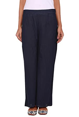 caff59fd123 Image Unavailable. Image not available for. Color  Tjori Navy Blue Cotton  Linen Palazzo Pants