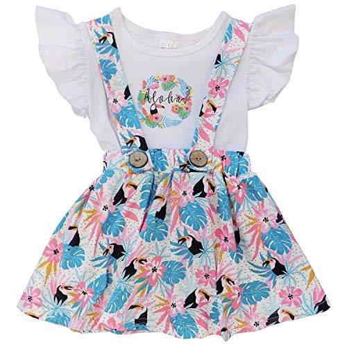Girls Skort Set - So Sydney Toddler & Girls 2 Pc Short Sleeve Skort Set (12-24 Months (XXS), Aloha Floral)