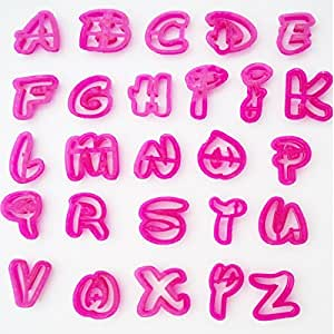 Lowercase letters in a Funky script style font. For Cake Decorating icing Fondant