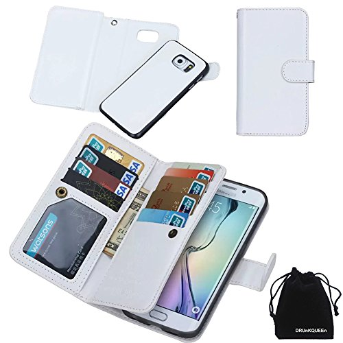 DRUnKQUEEn For Samsung Galaxy S6 Edge Plus, Wallet Leather Flip Card Holder Case, 2 in 1 Detachable Magnetic Back Cover for Galaxy S6 Edge+ G9280 (NOT for S6/S6edge)