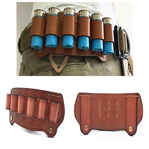 FIRECLUB Tactical Cowhide Leather Hunting Rifle Magazine Pouch 6 Shots 12 Gauge Ammo Bag Shotgun Shell Holder Cartridge Belt