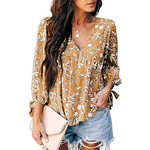 Jade Floral Band Ring - 【MOHOLL】 Women's Long Sleeve Tops Floral Print V-Neck Blouses Pleated Lace Shirt Top Casual Loose Shirts Yellow