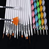 20 Pcs Nail Brushes Dotting Painting Drawing Pen Professional Soft Nails Art Brush Tool Kits Pride Popular Pedicures Toenail Pads Lacquer Natural Cleaner French Stencils Glitter Girls Kit