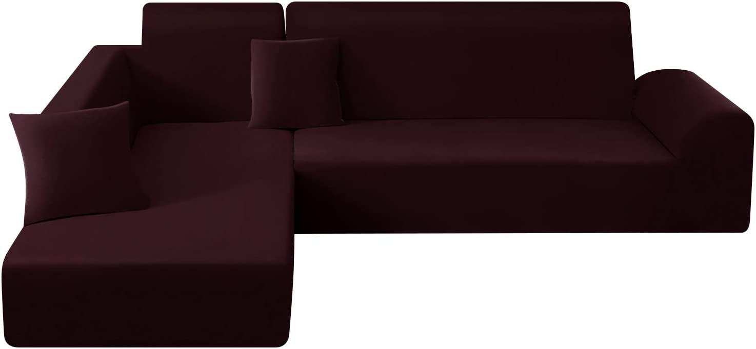 TAOCOCO Sectional Couch Covers 2pcs L Shape Sofa Covers Polyester Fabric Stretch Furniture Cover Pet Dog Sofa Slipcovers L-Type Flexible Sofa Cover 3 seat +3 seat (Wine)
