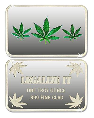 25 (Twenty Five) 1 Troy Ounce Marijuana Pot Leaf .999 Fine Silver Layered Bar + Bonus Gold Layered Buffalo Nickel!