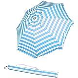 AmazonBasics Beach Umbrella - Light Blue Striped