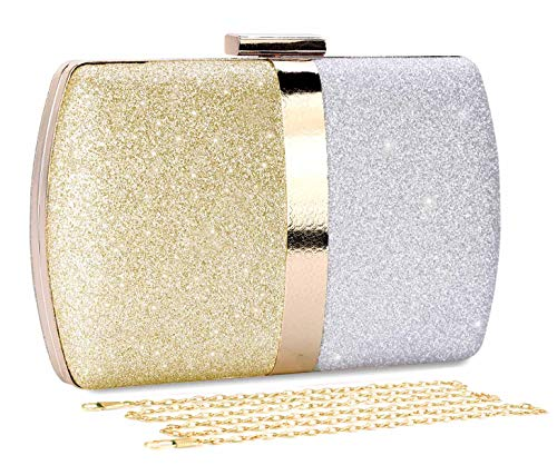 - Selighting Glitter Clutch Evening Bags for Women Formal Bridal Wedding Clutches Purses Prom Cocktail Party Handbags (One Size, Gold&Silver)