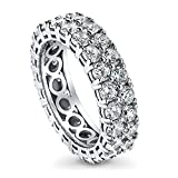 BERRICLE Rhodium Plated Sterling Silver Cubic Zirconia CZ Anniversary Eternity Band Ring Size 6