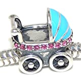 Solid 925 Sterling Silver ''Baby Carriage with Pink Crystals and Blue Cover'' Charm Bead 327 for European Snake Chain Bracelets