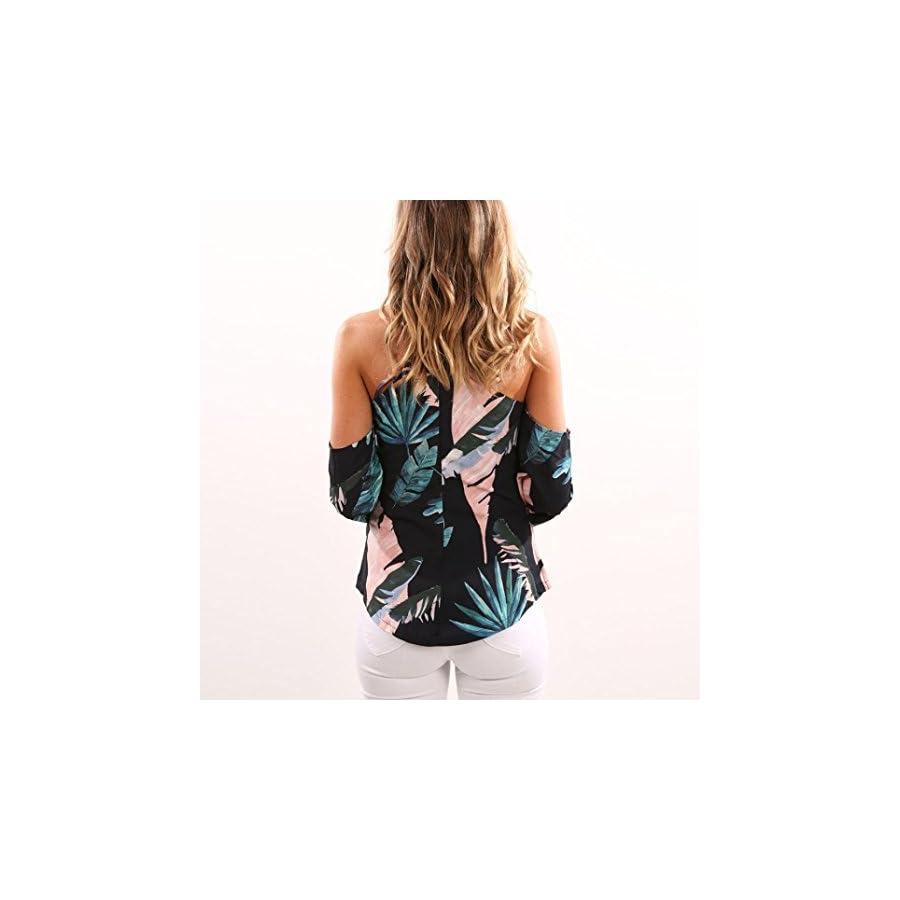 Off Shoulder Tops, Hmlai Women Off Shoulder Halter Floral Printed Casual Shirt Blouse Tops T Shirt