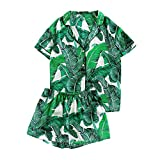 Mandaartins Women Green Palm Leaf Print Collar Pajama Set Elastic Waist Sleepwear with Botton