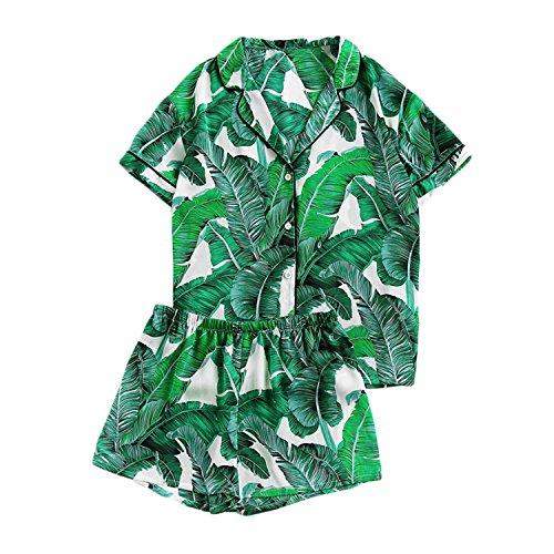 Mandaartins Women Green Palm Leaf Print Collar Pajama Set Elastic Waist Sleepwear with Botton by Mandaartins