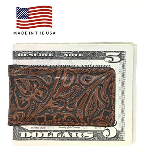 Cognac Western Genuine Leather Magnetic Money Clip - American Factory Direct - Money Holder - Made in USA by Real Leather Creations FBA489 (Western Wallets Money Clip)