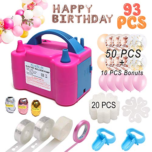 Balloon Pump, Electric Balloon Blower 110V 600W Portable Dual Nozzles Electric Balloon Air Pump Electric Balloon Inflator with 50 PCS Balloons, Tying Tools, 20 Flower Clips, Tape Strip, Colored Ribbon and Dot Glues for Party Decoration