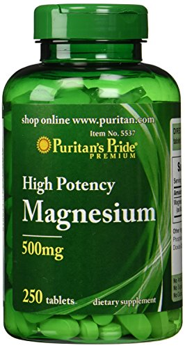 Puritans Pride Magnesium 500 Mg-250 Tablets, 250 Count