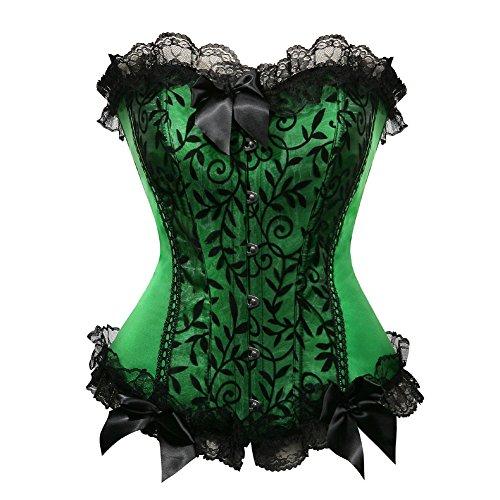 Womens Floral with Black Lace Trim Corset Satin Overbust Waist Cincher Bustier, Green, 5XL/Natural (Plain Black Corset)