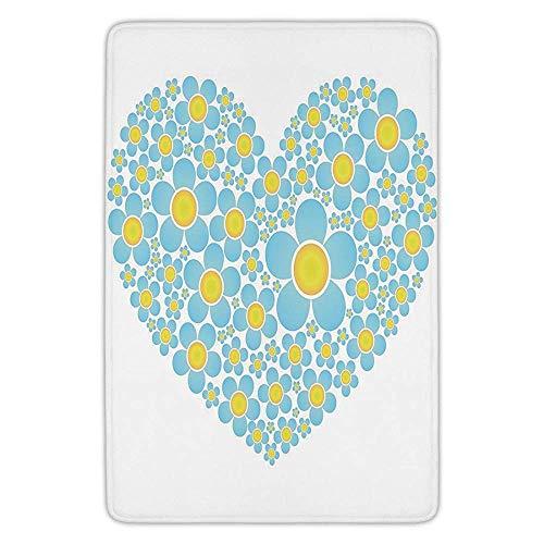 Bathroom Bath Rug Kitchen Floor Mat Carpet,Yellow and Blue,Heart Shape Full of Cute Daisy Flowers Romantic Valentines Wedding,Light Blue Marigold,Flannel Microfiber Non-Slip Soft Absorbent -