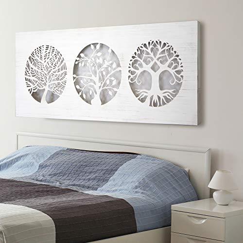 Mandala de Pared Calada, Fabricada artesanalmente en Espana- Mandala 3D Cuadrada Pintada a Mano- Modelo Mosaico 162 (Blanco Envejecido, 60X150)