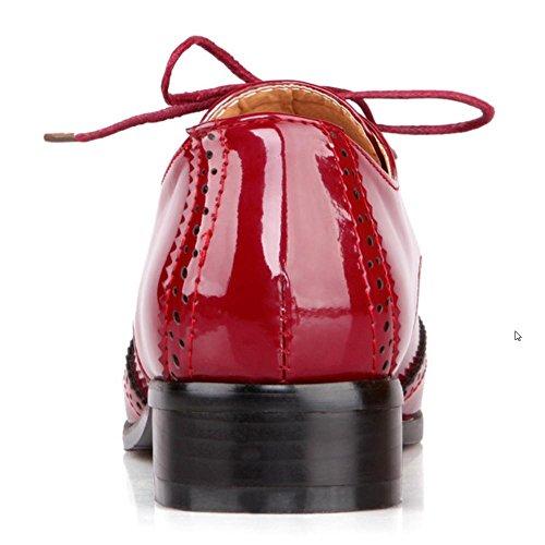 Pumps TAOFFEN Heel Women's Claret Low Simple 6022 ZwI1wH