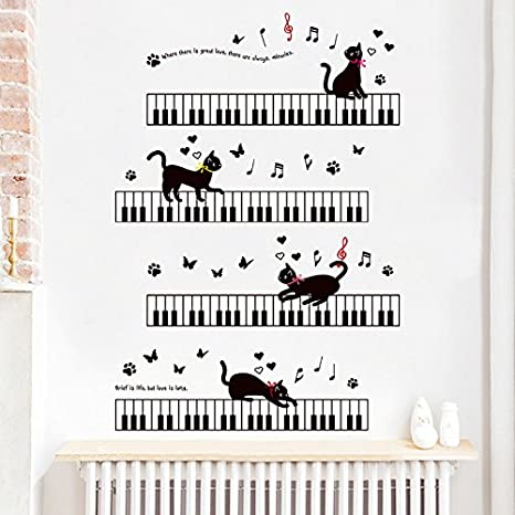 Lovely Butterfly Cat Footprint Sticker for Kids Room Nursery Wall Art Decor IARTTOP Colorful Animals Wall Decal
