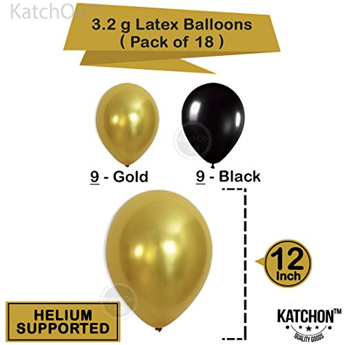 KATCHON 1 11 Decorations Happy Birthday Banner, 40th Balloons,Gold and Black, Number Perfect 40 Years Old Par, M by KATCHON (Image #5)