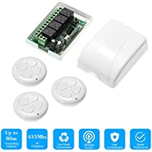 KKmoon 433Mhz DC 12V 4CH Universal 10A Relay Wireless Remote Control Switch Receiver Module and 1PCS 4 Key RF 433 Mhz Transmitter Remote Controls 1527 Chip Smart Home Automation