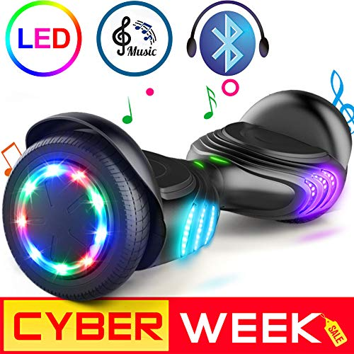 TOMOLOO Hoverboard with Bluetooth Speaker and Colorful LED Lights Self-Balancing...