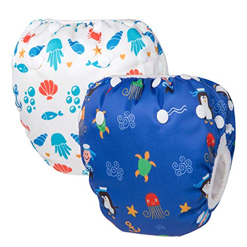 UBBCARE Reusable Swim Diaper Adjustable Baby Swim Diapers for Babies 0-2 Years 2pcs Baby Shower Gifts & Swimming Lessons