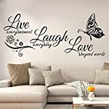Wall Stickers Quotes Vinyl Art Room Mural Posters Live Every Moment Laugh Every Day Love Beyond Words Butterflies