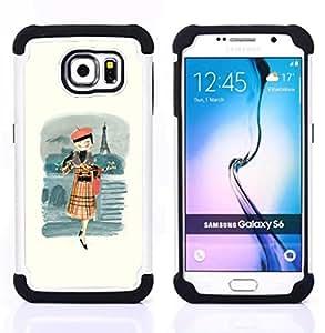 """Samsung Galaxy S6 / SM-G920 - 3 en 1 impreso colorido de Altas Prestaciones PC Funda chaqueta Negro cubierta gel silicona suave (Francés Chica señora Woman Moda Beret"""")"""