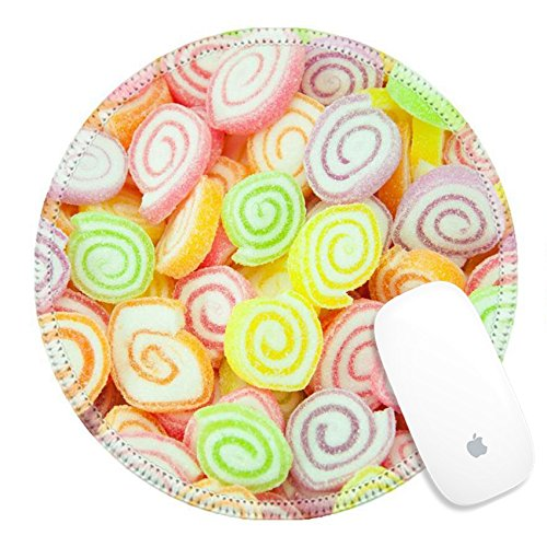Luxlady Round Gaming Mousepad 25728220 Assortment of colorful fruit jelly candy ()
