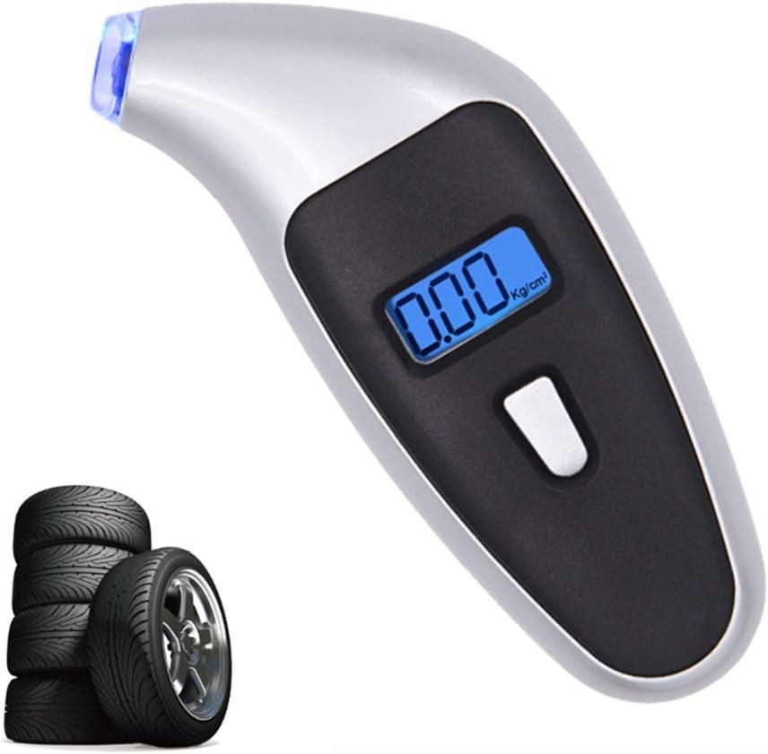 Hintergrundbeleuchtung und rutschfestem Anschluss silberfarben LKW mit ACL-Display Anjuley Digitaler Reifendruckanzeiger 150 PSI f/ür Fahrrad 4 Einstellungen
