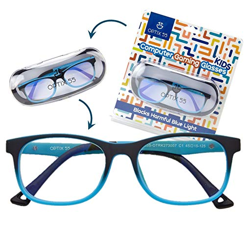 Kids Blue Light Blocking Glasses - Anti Eyestrain - Computer Video Gaming Eyeglasses for Boys & Girls - Bendable & Unbreakable Flexible Blue Square Frame Eye Glasses ()