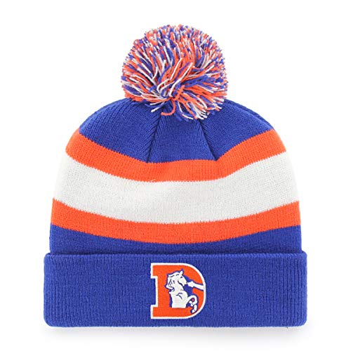 (OTS NFL Denver Broncos Male Rush Down Legacy Cuff Knit Cap with Pom, Royal, One Size)