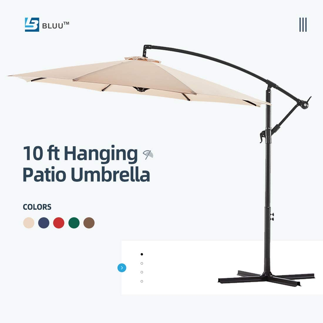 WUFF Bluu 10ft Patio Offset Umbrella Cantilever Umbrella Hanging Market Umbrella Outdoor Umbrellas with Crank & Cross Bases