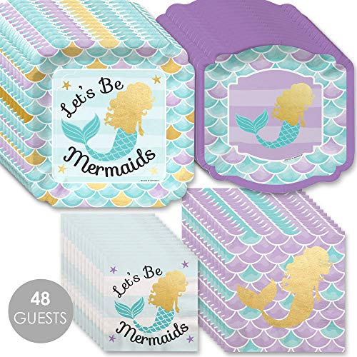 Let's Be Mermaids with Gold Foil - Baby Shower or Birthday Party Tableware Plates and Napkins - Bundle for 48