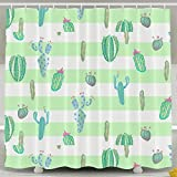 Cacti Party Mint Stripes Personalize Custom Bathroom Shower Curtain With Rings Waterproof Polyester Fabric 60 X72 Inch,No Chemical Odor