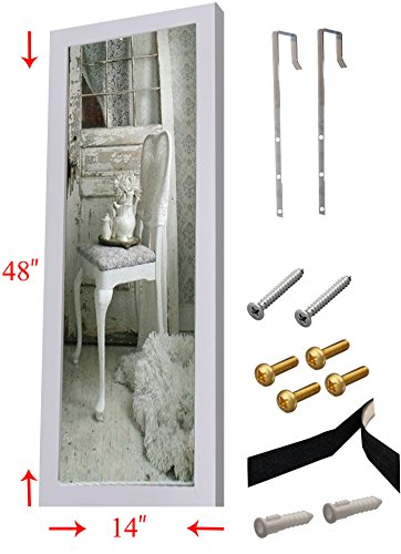 """Over the Door Mirror / Wall Mirror (14"""" x 48"""") – Full Length, White Wooden Furniture Frame (Hardware and Instructions Included)"""