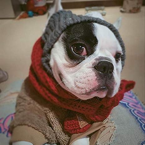 accessori per animali domestici di Natale Cappello da cucciolo caldo con copricapo a sfera per cani di piccola taglia Bulldog francese Prodotti per animali Cappellino invernale per cani Grigio