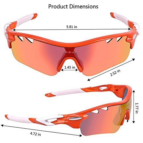 Cycling Glasses Shades Durable Tr90 Polarized Sports Sunglasses with 5pcs Interchangeable Lenses for Men Women Cycling Baseball Running Fishing Driving Golf Stylish and Durable (Color : Orange)